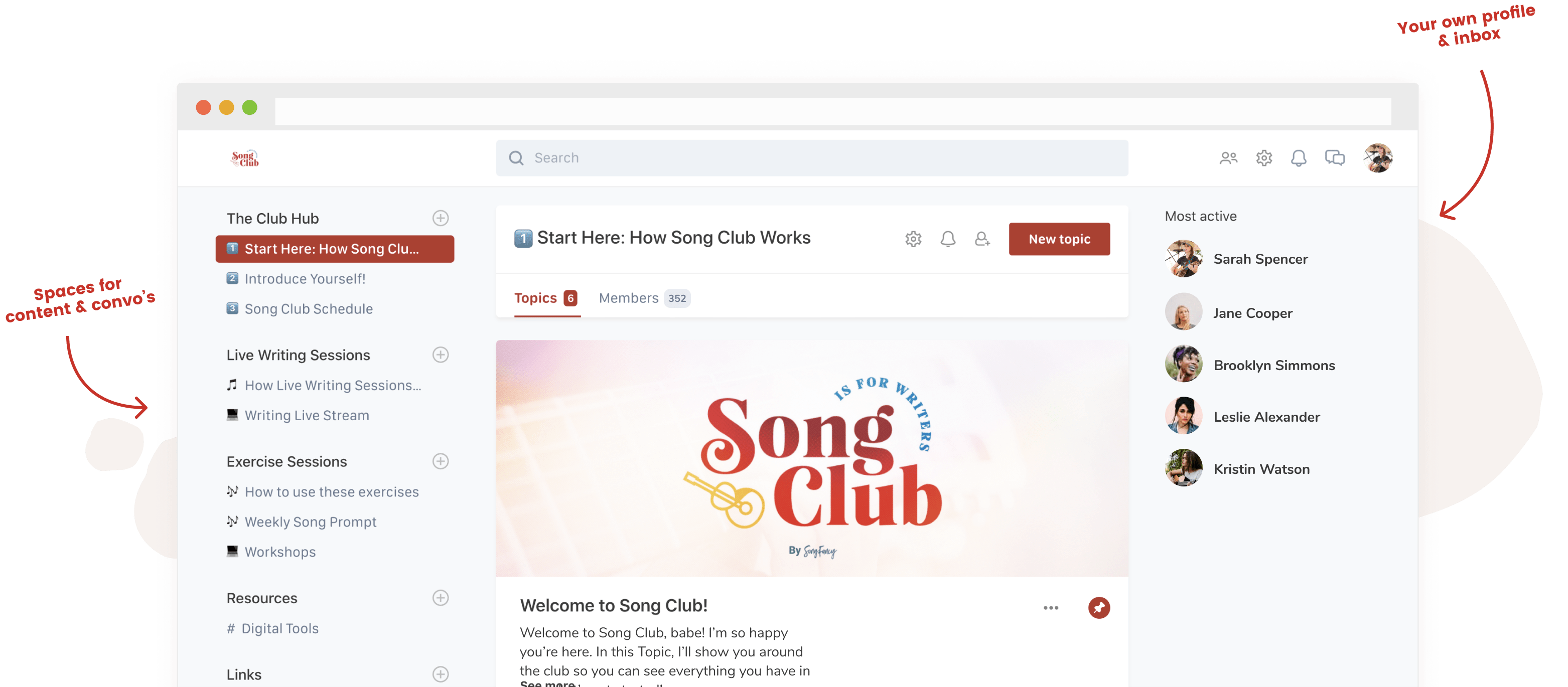 Screenshot of the Song Club community dashboard.